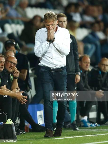 coach Alfons Groenendijk of ADO Den Haag during the Dutch Eredivisie match between Heracles Almelo v ADO Den Haag at the Polman Stadium on August 18...