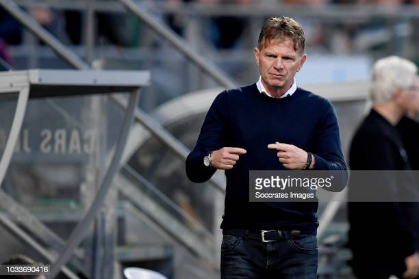 coach Alfons Groenendijk of ADO Den Haag during the Dutch Eredivisie match between ADO Den Haag v PSV at the Cars Jeans Stadium on September 15 2018...