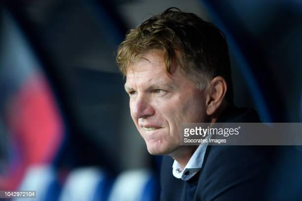 coach Alfons Groenendijk of ADO Den Haag during the Dutch Eredivisie match between SC Heerenveen v ADO Den Haag at the Abe Lenstra Stadium on...