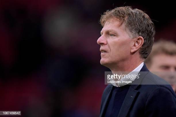 coach Alfons Groenendijk of ADO Den Haag during the Dutch Eredivisie match between Ajax v ADO Den Haag at the Johan Cruijff Arena on December 2 2018...