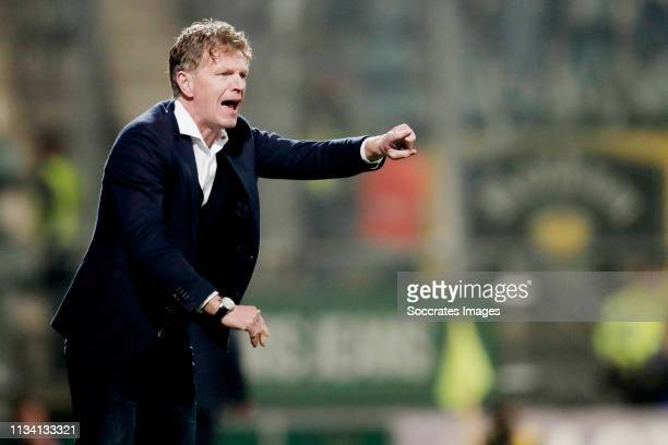coach Alfons Groenendijk of ADO Den Haag during the Dutch Eredivisie match between ADO Den Haag v Vitesse at the Cars Jeans Stadium on March 30 2019...