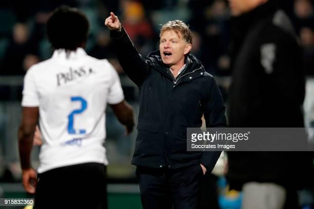 coach Alfons Groenendijk of ADO Den Haag during the Dutch Eredivisie match between ADO Den Haag v Vitesse at the Cars Jeans Stadium on February 8...