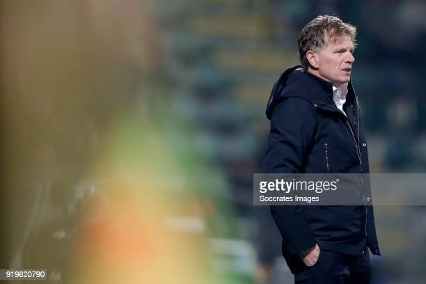 coach Alfons Groenendijk of ADO Den Haag during the Dutch Eredivisie match between ADO Den Haag v Willem II at the Cars Jeans Stadium on February 17...