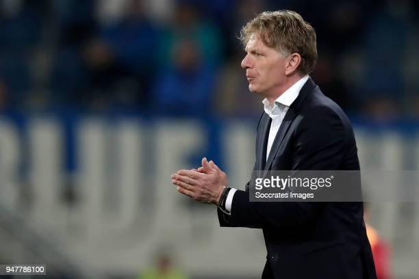 coach Alfons Groenendijk of ADO Den Haag during the Dutch Eredivisie match between SC Heerenveen v ADO Den Haag at the Abe Lenstra Stadium on April...