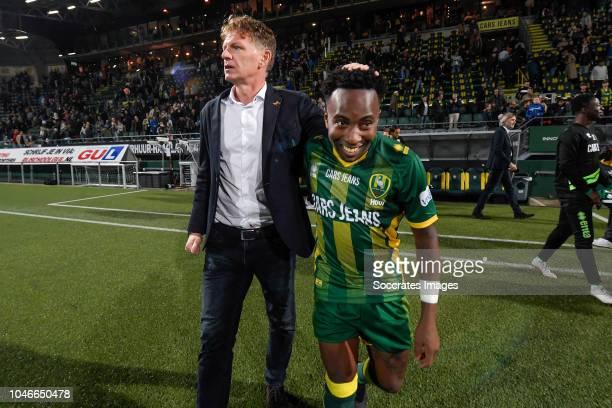 coach Alfons Groenendijk of ADO Den Haag Elson Hooi of ADO Den Haag celebrates the victory during the Dutch Eredivisie match between ADO Den Haag v...