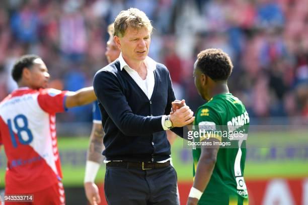coach Alfons Groenendijk of ADO Den Haag Elson Hooi of ADO Den Haag during the Dutch Eredivisie match between FC Utrecht v ADO Den Haag at the...