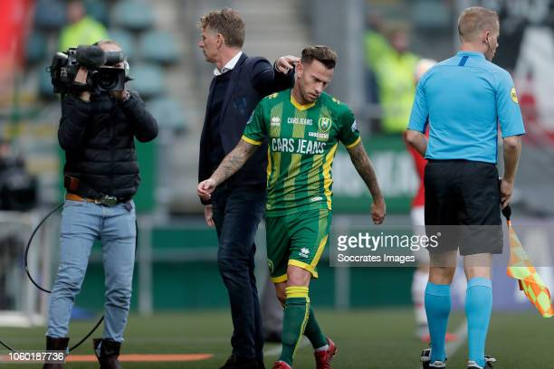 coach Alfons Groenendijk of ADO Den Haag John Goossens of ADO Den Haag during the Dutch Eredivisie match between ADO Den Haag v AZ Alkmaar at the...