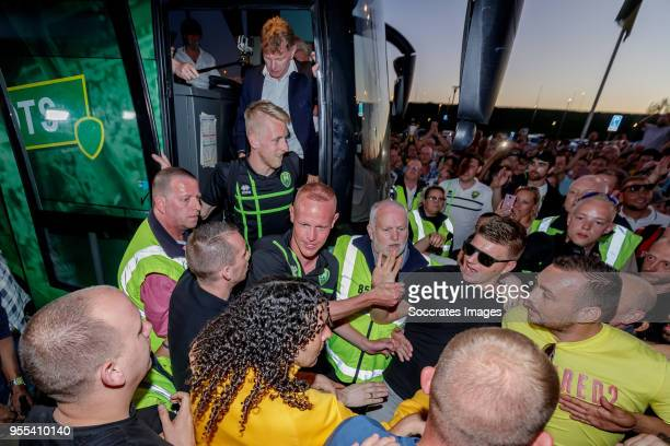 coach Alfons Groenendijk of ADO Den Haag Lex Immers of ADO Den Haag Tom Beugelsdijk of ADO Den Haag arrive at the stadium after the victory and...