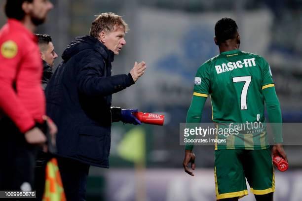 coach Alfons Groenendijk of ADO Den Haag Sheraldo Becker of ADO Den Haag during the Dutch Eredivisie match between ADO Den Haag v De Graafschap at...