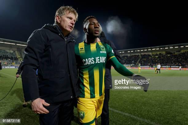 coach Alfons Groenendijk of ADO Den Haag Sheraldo Becker of ADO Den Haag during the Dutch Eredivisie match between ADO Den Haag v Vitesse at the Cars...