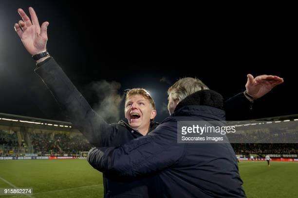 coach Alfons Groenendijk of ADO Den Haag teammanager Jillis Zevenbergen of ADO Den Haag celebrate the victory during the Dutch Eredivisie match...