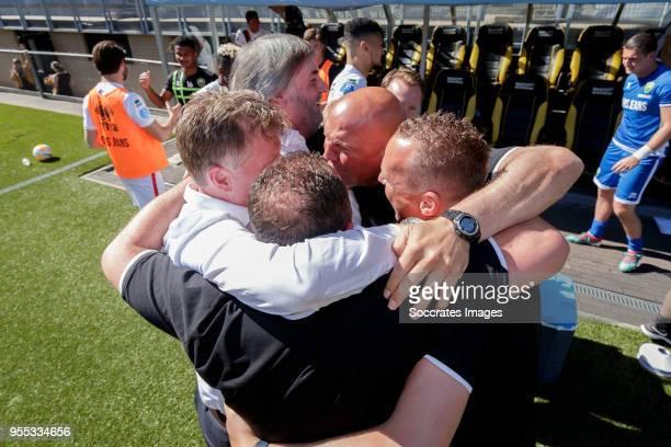 coach Alfons Groenendijk of ADO Den Haag teammanager Jillis Zevenbergen of ADO Den Haag assistant trainer Dirk Heesen of ADO Den Haag assistant...