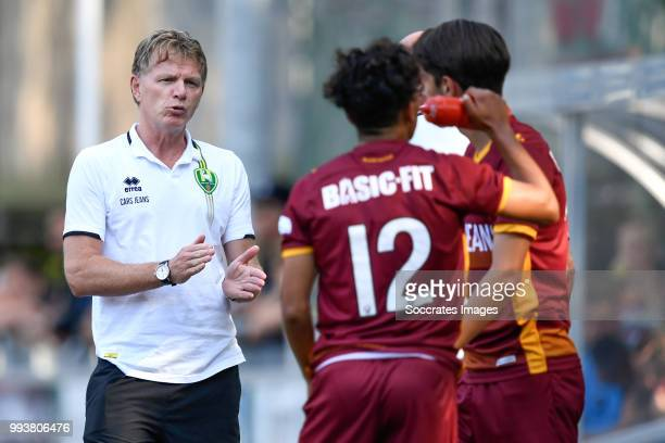 coach Alfons Groenendijk of ADO Den Haag Yahya Boussakou of ADO Den Haag Maarten Reijneveld of ADO Den Haag during the match between Scheveningen v...