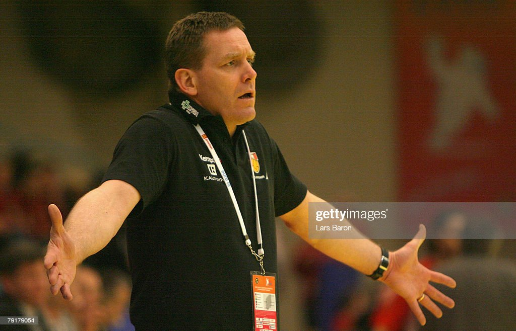 Coach Alfred Gislason of Iceland gestures during the Men's Handball European Championship main round Group II match between Hungary and Iceland at Trondheim Spektrum on January 23, 2008 in Trondheim, Norway.