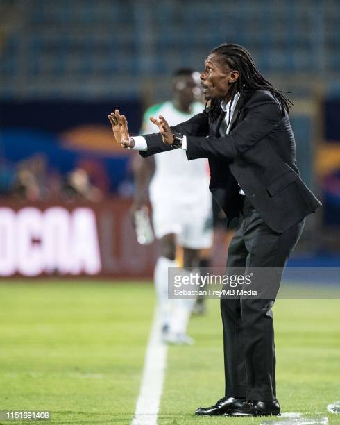 Coach Aliou Cisse of Senegal looks on during the 2019 Africa Cup of Nations Group C match between Senegal and Tanzania at 30 June Stadium on June 23...