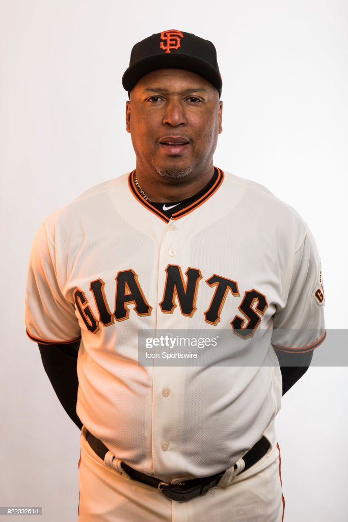 Coach Alonzo Powell (33) poses for a photo during the San Francisco Giants photo day on Tuesday, Feb. 20, 2018 at Scottsdale Stadium in Scottsdale, Ariz.