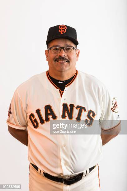Coach Alvaro Espinoza poses for a photo during the San Francisco Giants photo day on Tuesday Feb 20 2018 at Scottsdale Stadium in Scottsdale Ariz