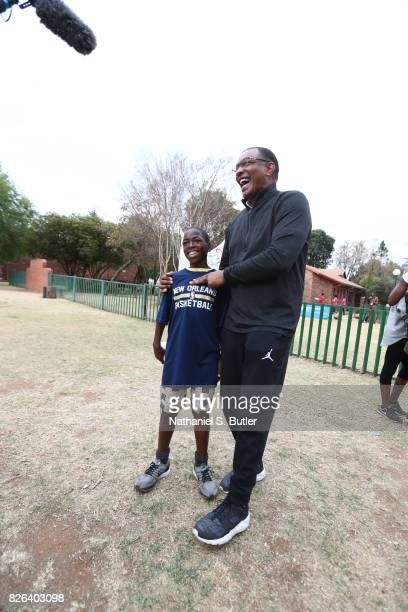 Coach Alvin Gentry of Team Africa interacts with the children as part of the Basketball Without Borders Africa at the SOS Children's Village on...