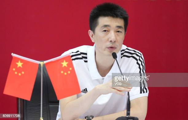 Coach An Jiajie of China attends a press conference after the 3rd place match between China and Serbia during 2017 FIVB Volleyball World Grand Prix...