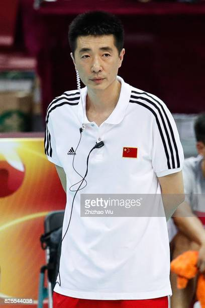 Coach An Jiajie of China watches during 2017 Nanjing FIVB World Grand Prix Finals between China and Brazil on August 2 2017 at Nanjing Olympic Sports...