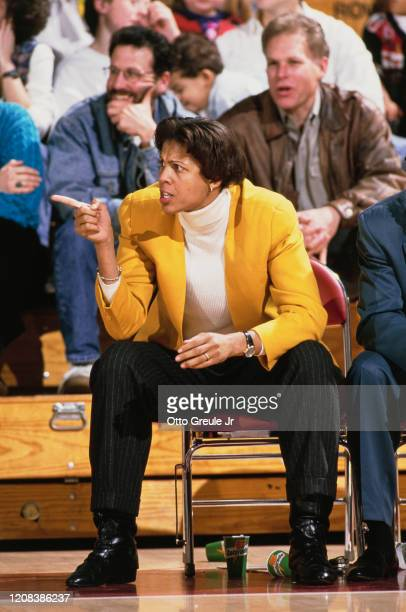Coach and former player of the USC Trojans, women's basketball team, Cheryl Miller, during a game against Stanford Cardinal at Maples Pavillion, Palo...
