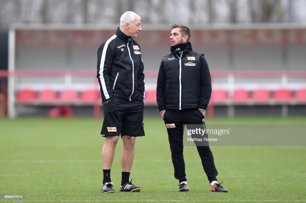 Coach Andre Hofschneider and assistant coach Sebastian Boenig of Union Berlin during the training session on December 6, 2017 in Berlin, Germany.
