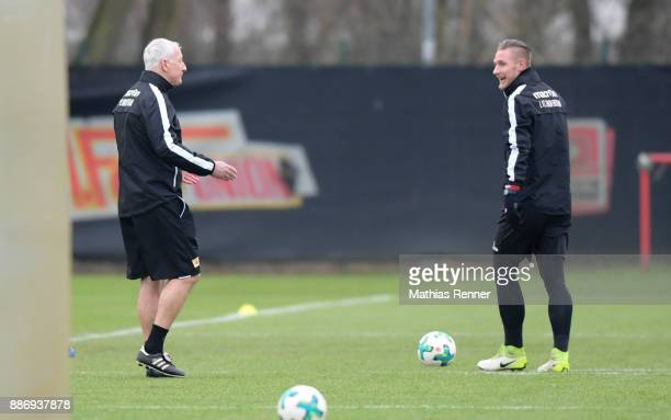 Coach Andre Hofschneider and Sebastian Polter of Union Berlin during the training session on December 6 2017 in Berlin Germany