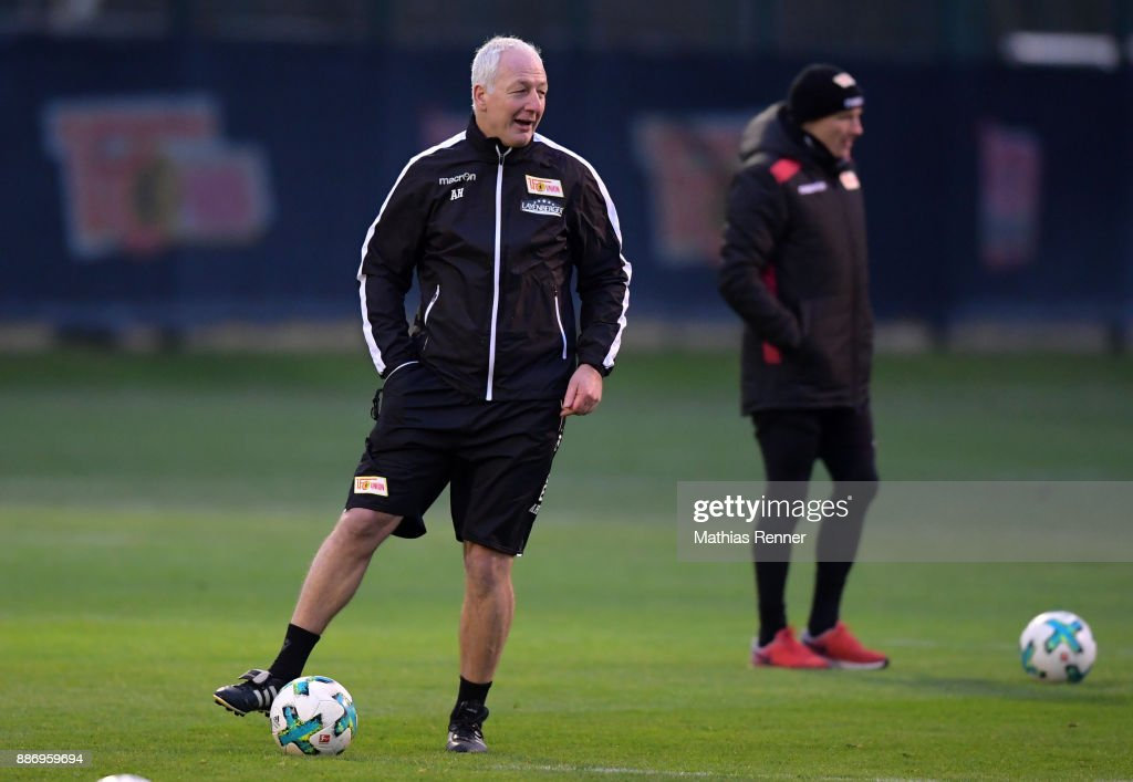 Coach Andre Hofschneider of Union Berlin during the training session on December 6, 2017 in Berlin, Germany.