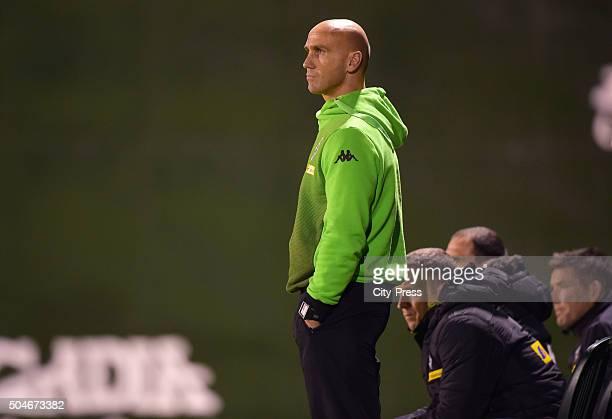 January 12: Coach Andre Schubert of Borussia Moenchengladbach during the test match between Borussia Moenchengladbach against Hertha BSC on January...