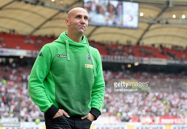 Coach Andre Schubert of Borussia Moenchengladbach looks on prior to the Bundesliga match between VfB Stuttgart and Borussia Moenchengladbach at...