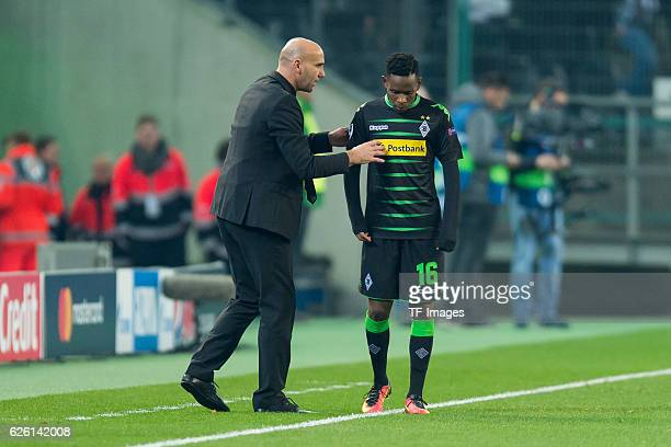 Coach Andre Schubert of Gladbach and Ibrahima Traore of Gladbach gestures during the UEFA Champions League match between VfL Borussia...
