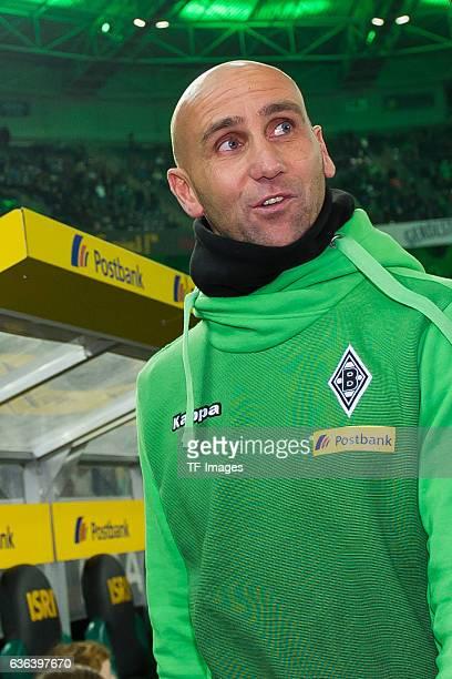 Coach Andre Schubert of Gladbach looks on during the Bundesliga match between Borussia Moenchengladbach and Borussia Dortmund at Borussia-Park on...