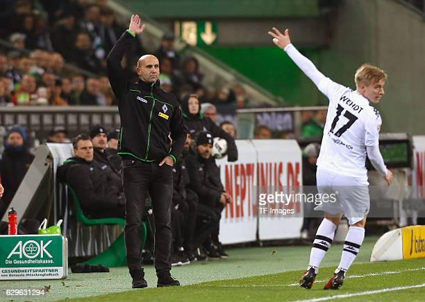 Coach Andre Schubert of Moenchengladbach and Oscar Wendt gestures during the Bundesliga match between Borussia Moenchengladbach and 1.FSV Mainz 05 at...