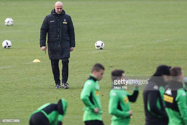 Coach Andre Schubert of Moenchengladbach is seen during a training session on December 15, 2016 in Moenchengladbach, Germany.