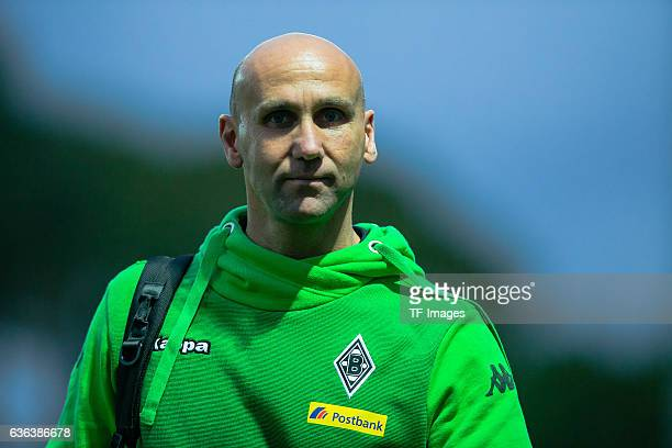 Coach Andre Schubert of Moenchengladbach looks on during the Friendly Match between Borussia Moenchengladbach and Sivasspor at training camp on...