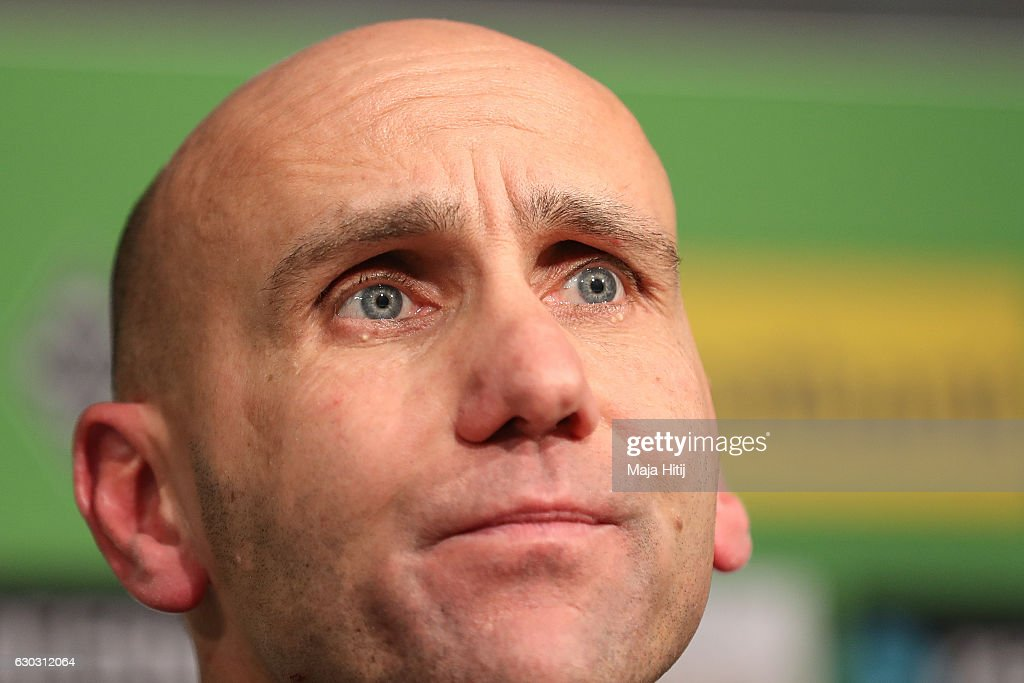 Coach Andre Schubert of Moenchengladbach looks on during the press conference after the Bundesliga match between Borussia Moenchengladbach and VfL Wolfsburg at Borussia-Park on December 20, 2016 in Moenchengladbach, Germany.