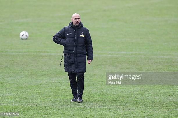Coach Andre Schubert of Moenchengladbach walks during a training session on December 15, 2016 in Moenchengladbach, Germany.