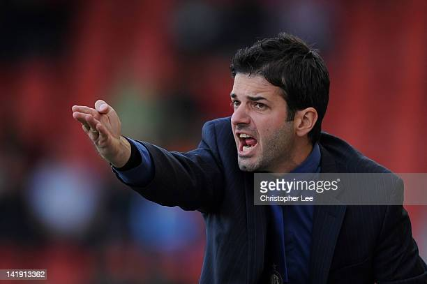 Coach Andrea Stramaccioni gestures during the NextGen Series Final between Ajax U19 and Inter Milan U19 at Matchroom Stadium on March 25 2012 in...