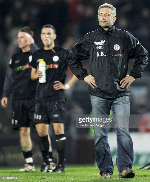 Coach Andreas Bergmann of St. Pauli looks dejected after the Third League match between FC St.Pauli and Rot Weiss Erfurt at the Millerntor stadium on...
