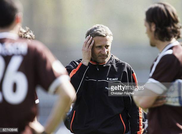 Coach Andreas Bergmann of St. Pauli looks dejected during the Third League match between Chemnitzer FC and FC St.Pauli on April 23, 2005 in Chemnitz,...