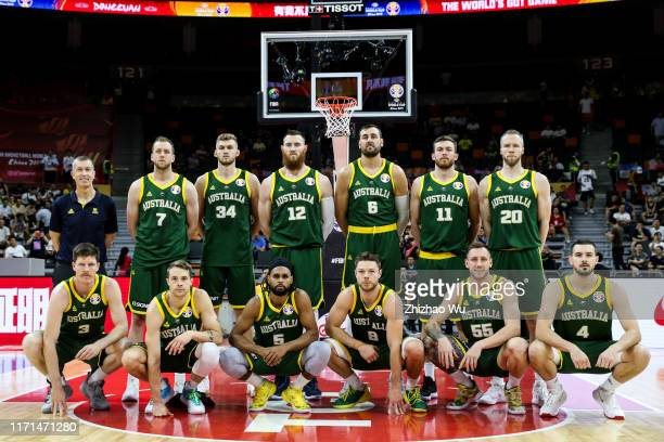 Coach Andrej Lemanis and players of Australia line up for the team photo during the 2019 FIBA World Cup, first round match between Canada and...