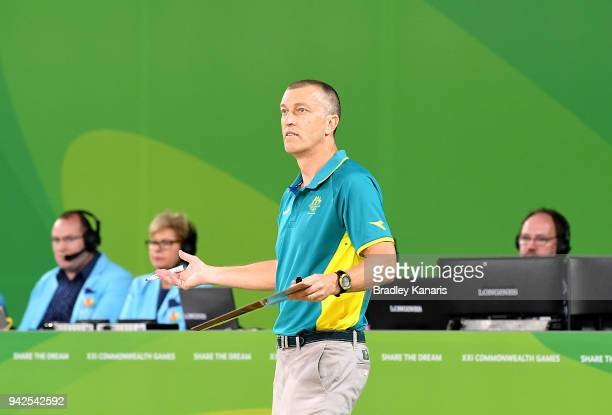 Coach Andrej Lemanis of Australia questions the call during the Basketball match between Australia and Canada on day two of the Gold Coast 2018...