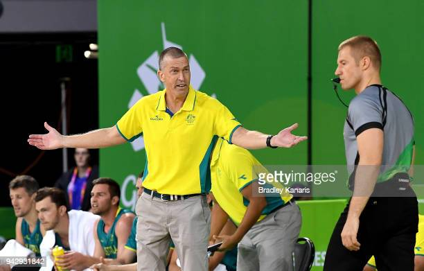 Coach Andrej Lemanis of Australia questions the referee during the Preliminary Basketball round match between Australia and New Zealand on day three...