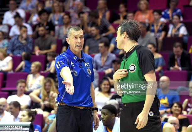 Coach Andrej Lemanis of the Bullets argues with the referee during the round seven NBL match between the Brisbane Bullets and the Illawarra Hawks at...