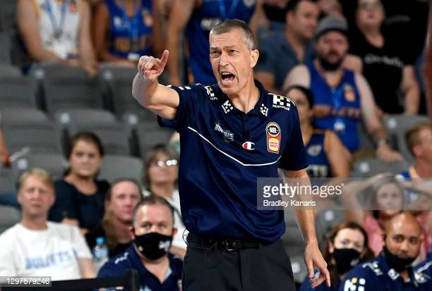 Coach Andrej Lemanis of the Bullets calls out to his players during the round two NBL match between the Brisbane Bullets and the Illawarra Hawks at...