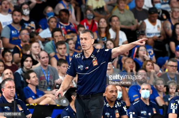 Coach Andrej Lemanis of the Bullets calls out to his players during the round three NBL match between the Brisbane Bullets and the Sydney Kings at...