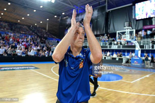 Coach Andrej Lemanis of the Bullets celebrates victory after the round five NBL match between the Brisbane Bullets and the Perth Wildcats at Nissan...