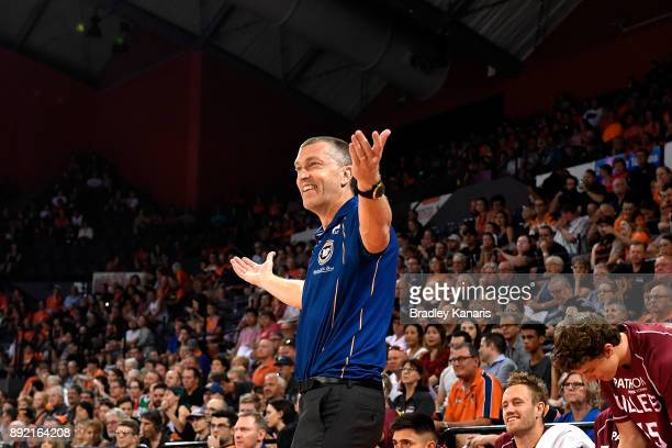 Coach Andrej Lemanis of the Bullets complains to the referee during the round 10 NBL match between the Cairns Taipans and the Brisbane Bullets at...