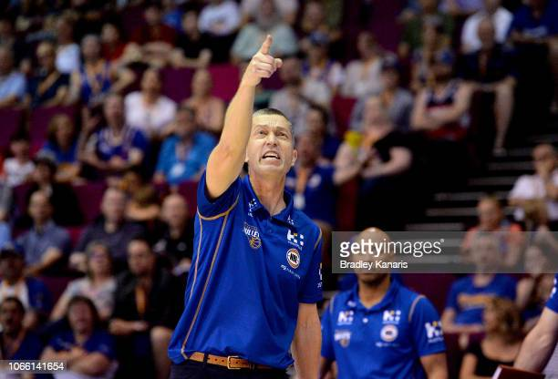 Coach Andrej Lemanis of the Bullets disputes a call at the Brisbane Convention Exhibition Centre on November 11 2018 in Brisbane Australia