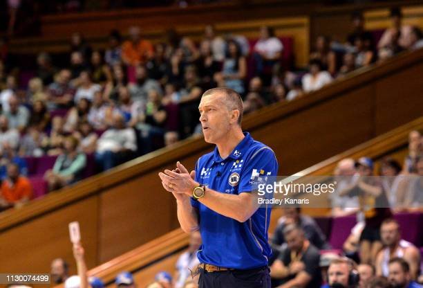 Coach Andrej Lemanis of the Bullets encourages his players during the round 18 NBL match between the Brisbane Bullets and the New Zealand Breakers at...